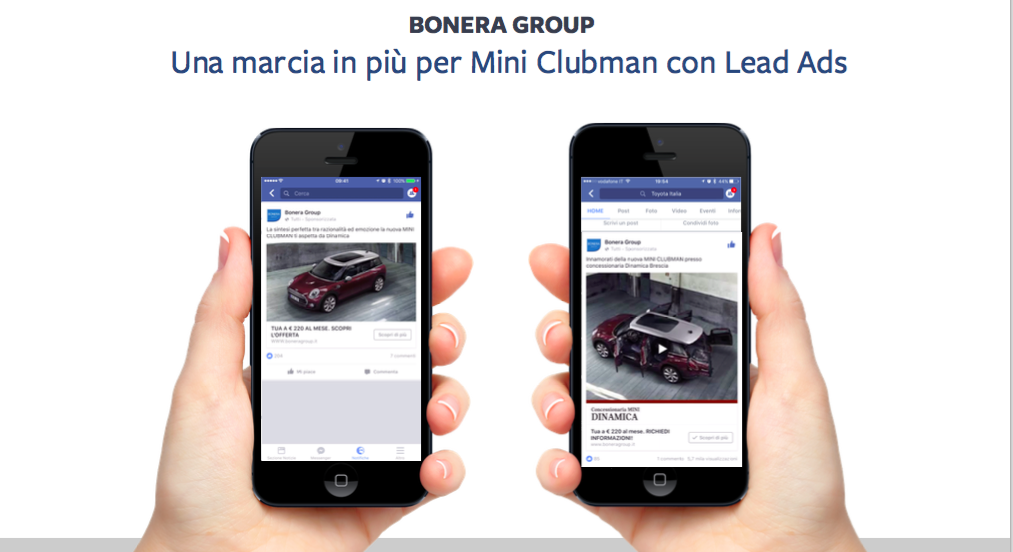 Facebook Lead Ads per Lead Generation Bonera Group