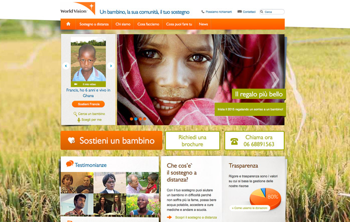 World Vision Italia web site